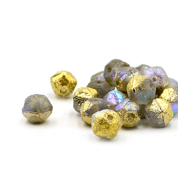 8mm English Cuts- Transparent w/Gold Luster & Etched Finish