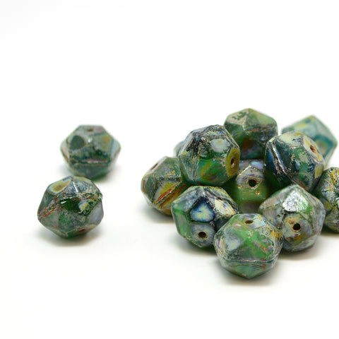 10mm English Cut- Green Turquoise Picasso