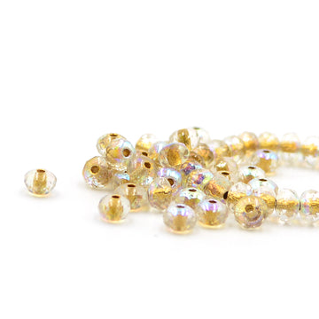 5mm Rondelle- Clear AB with Gold