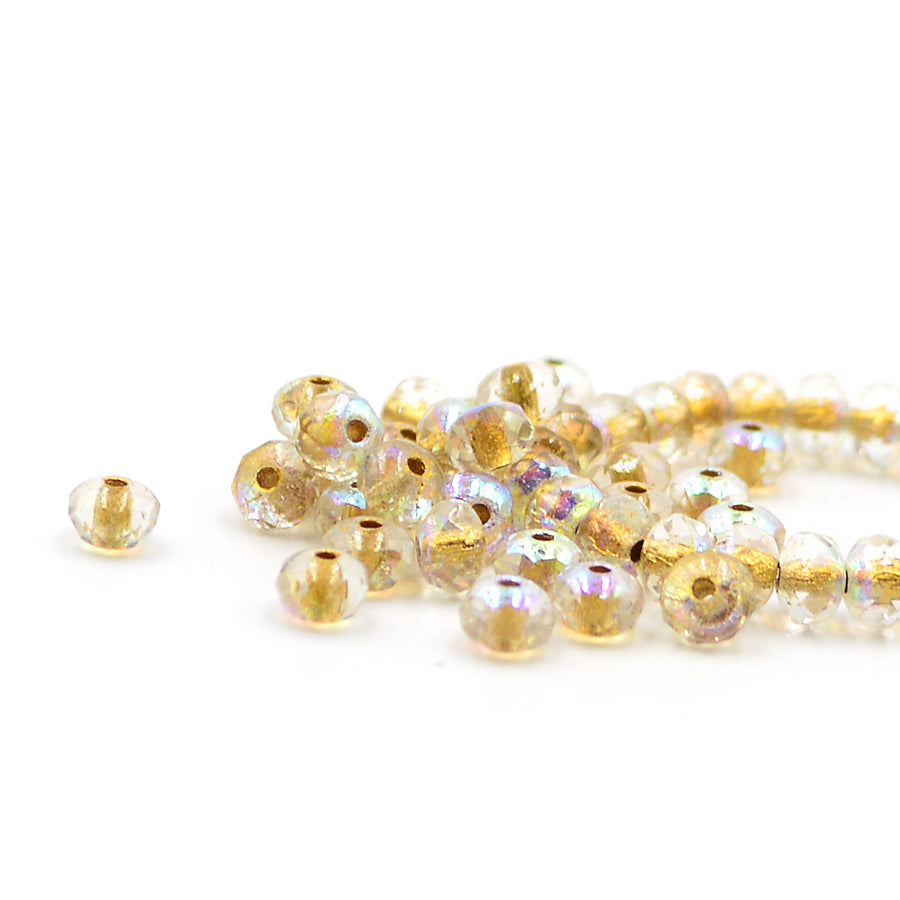 5mm Rondelles- Transparent AB with Gold
