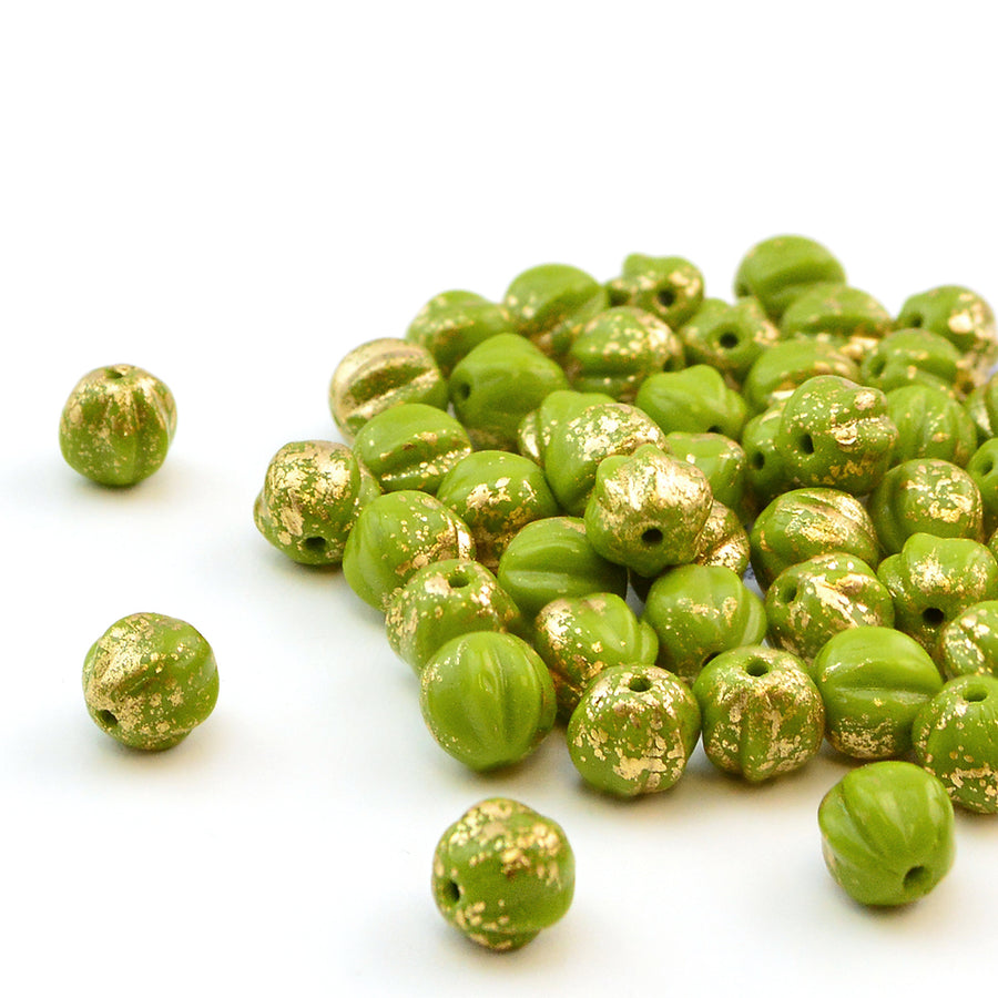 6mm Melons- Avocado Gold - Beadshop.com
