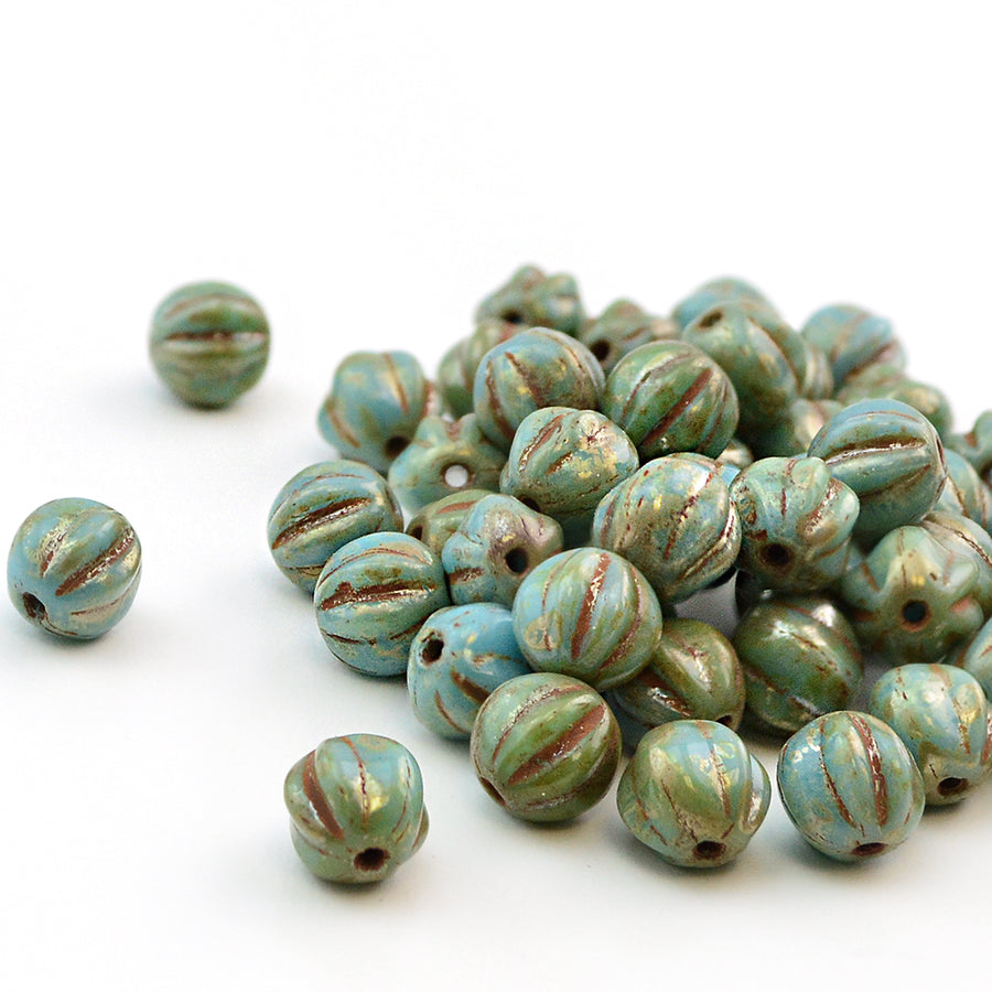 6mm Melons- Blue Turquoise Picasso - Beadshop.com