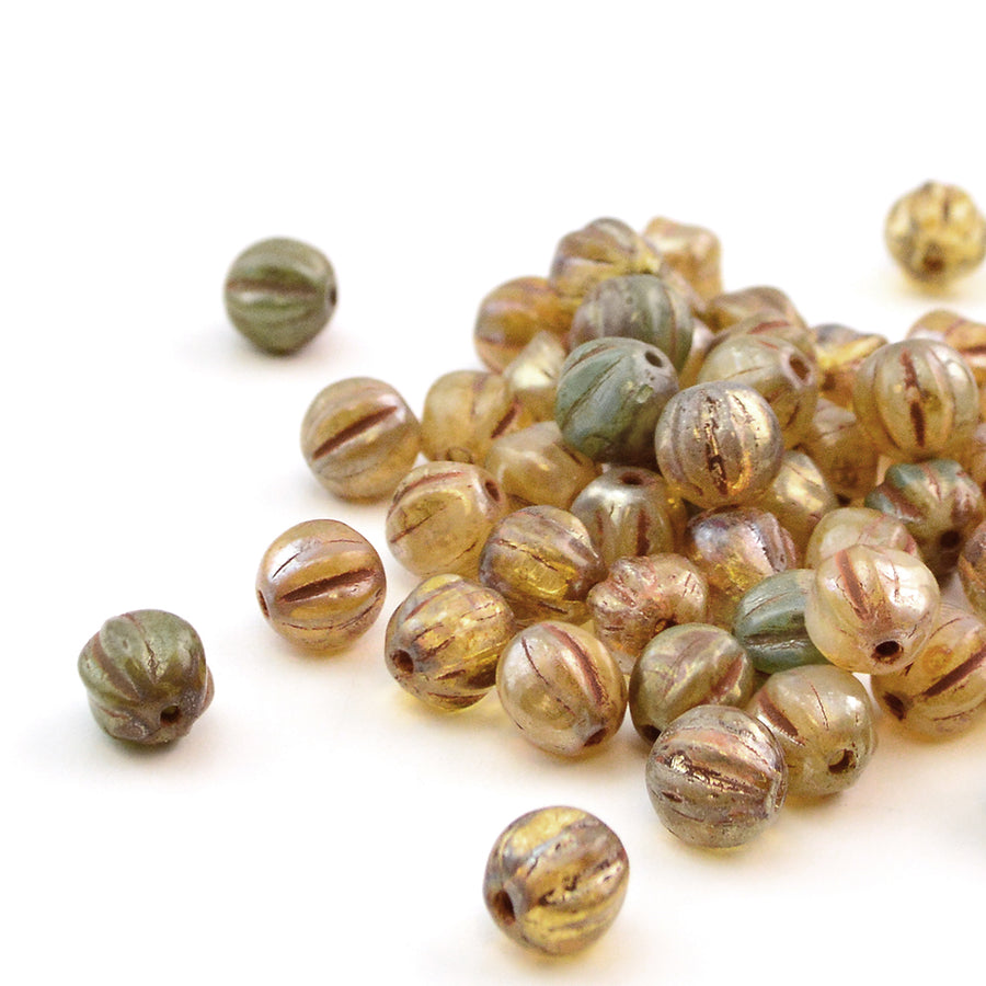 6mm Melons- Champagne Turquoise Picasso - Beadshop.com