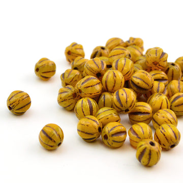 6mm Melons- Mustard Brown Wash - Beadshop.com