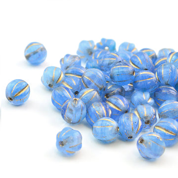 6mm Melons- Sapphire and Bronze - Beadshop.com