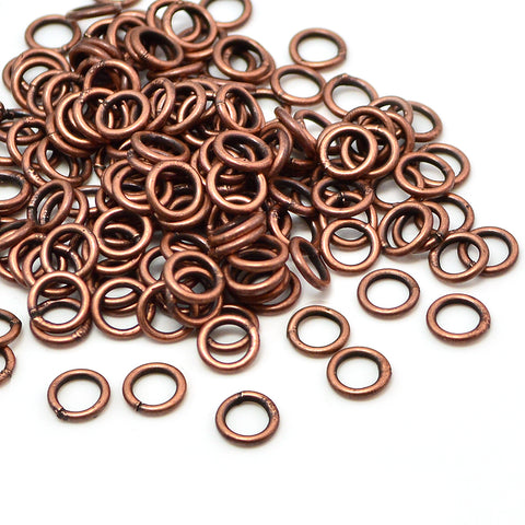 Antique Copper Soldered Jump Rings-6mm/18G