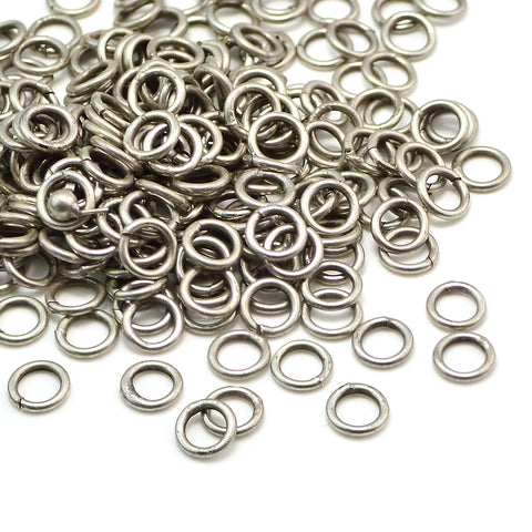 Antique Silver Soldered Jump Rings-6mm/18G