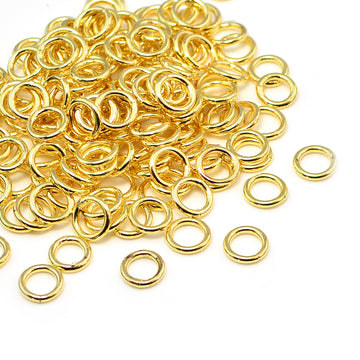 Bright Gold Soldered Jump Rings- 6mm/18G