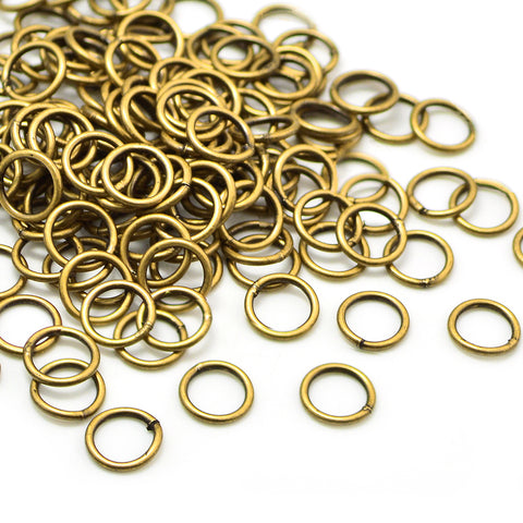 Antique Brass Soldered Jump Rings-8mm/18G