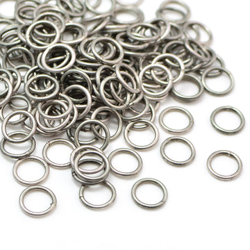 8mm/18g Soldered Jump Rings- Antique Silver