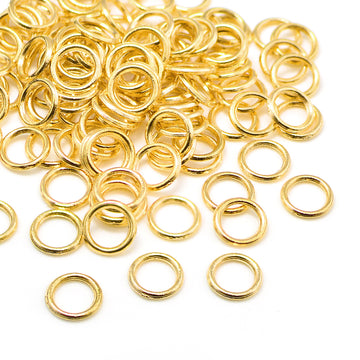 Bright Gold Soldered Jump Rings- 8mm/18G