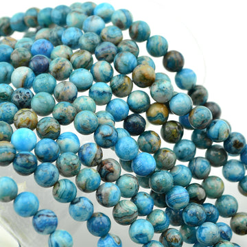 Blue Calico- 6mm , Gemstone - Dakota Stones, Beadshop.com