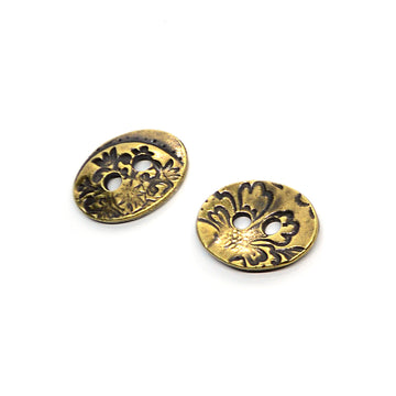 Jardin Button- Antique Brass