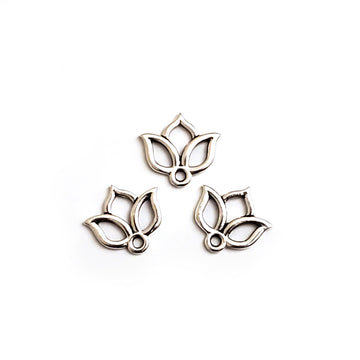 Open Lotus Charm- Antique Silver