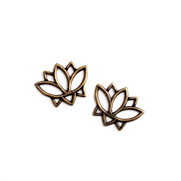 Open Lotus Link- Antique Brass