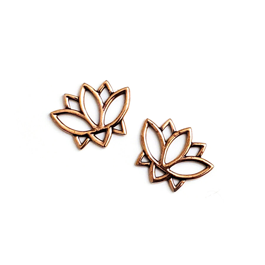 Open Lotus Link- Antique Copper