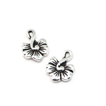 Hibiscus Drop- Antique Silver