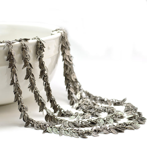 Leafy Chain- Antique Silver