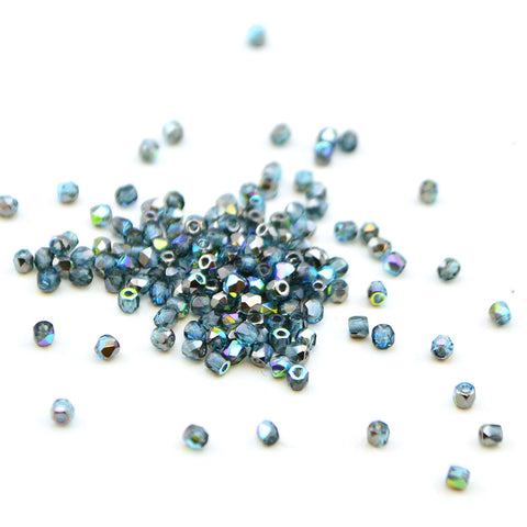2mm- Aqua Graphite Rainbow , 2mm czech glass - Helby, Beadshop.com