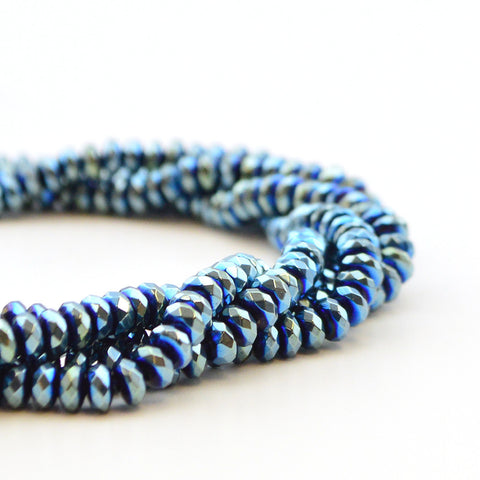 Azure Hematite Faceted Rondelle- 4mm