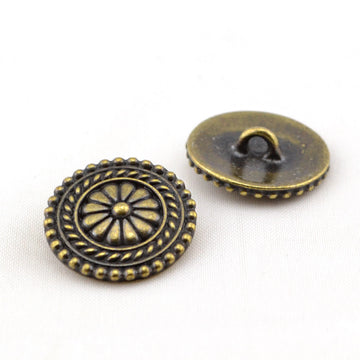 Bali Button- Brass , Buttons - Tierracast, Beadshop.com
