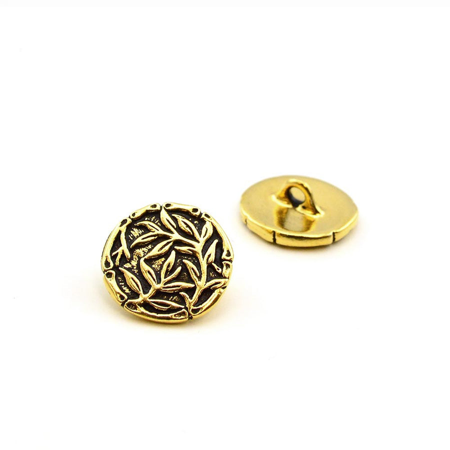 Bamboo Silhouette- Antique Gold , Buttons - Tierracast, Beadshop.com