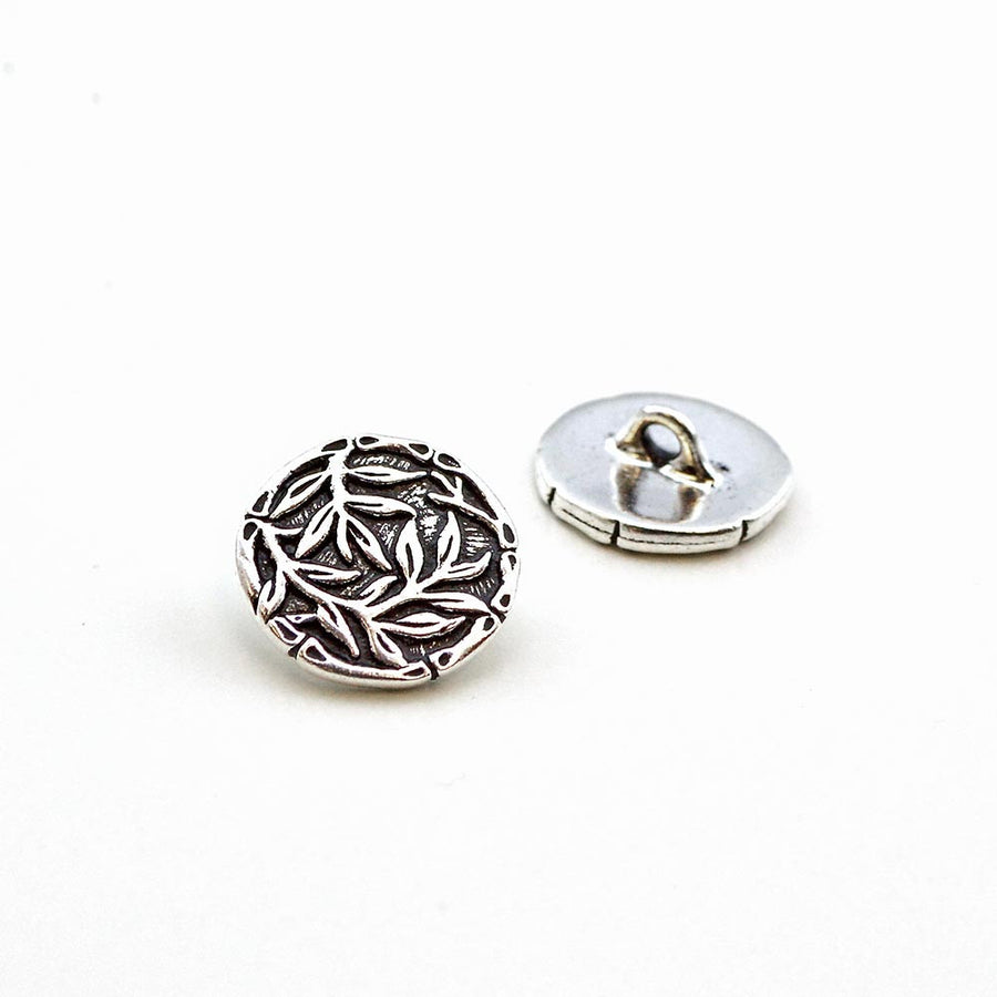 Bamboo Silhouette- Antique Silver , Buttons - Tierracast, Beadshop.com