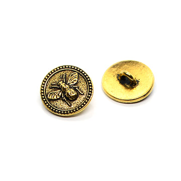 Bee Button- Antique Gold