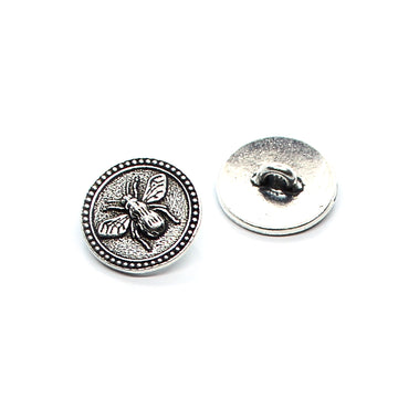 Bee Button- Antique Silver