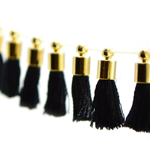 Tiny Tassel- Black/Gold