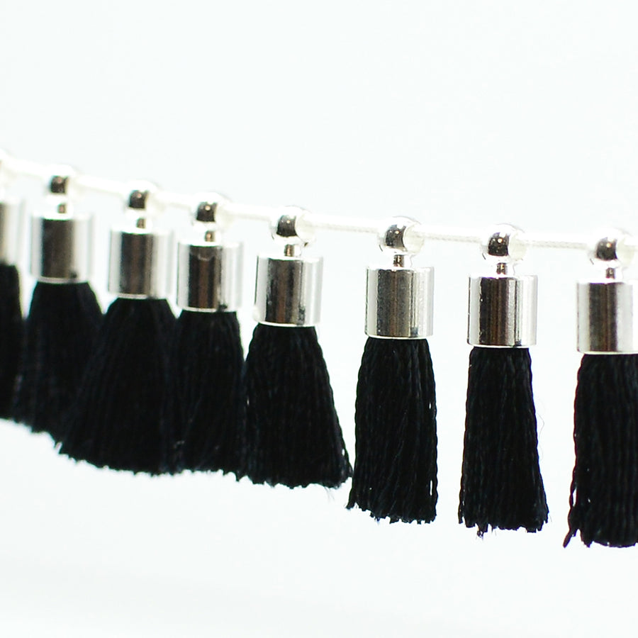 Tiny Tassel- Black/Silver