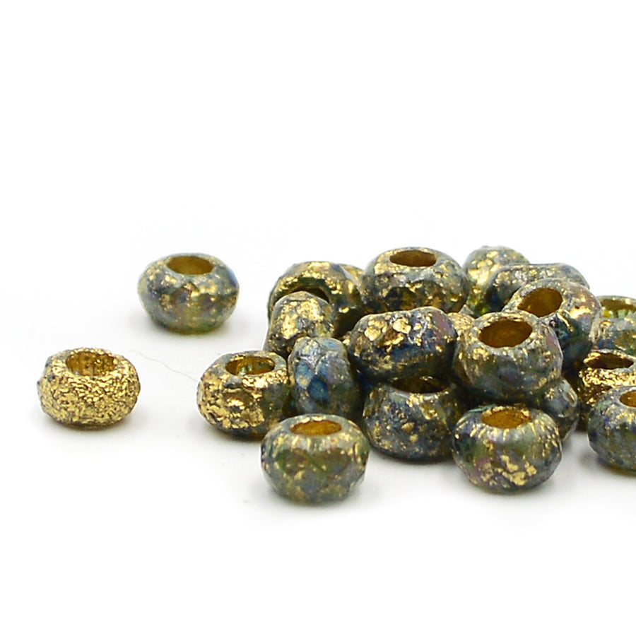 Blue Etched Gold Roller Bead