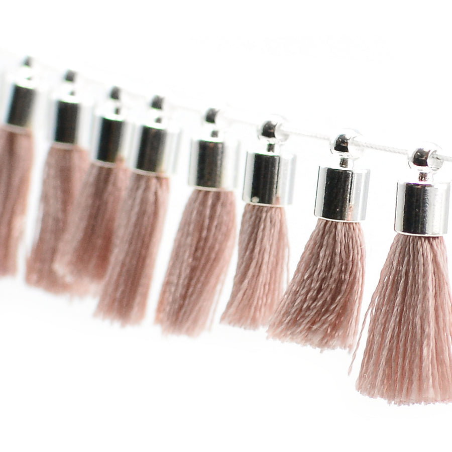 Tiny Tassel- Blush/Silver