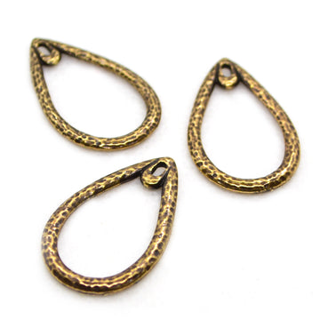 Hammered Teardrops- Ant. Brass
