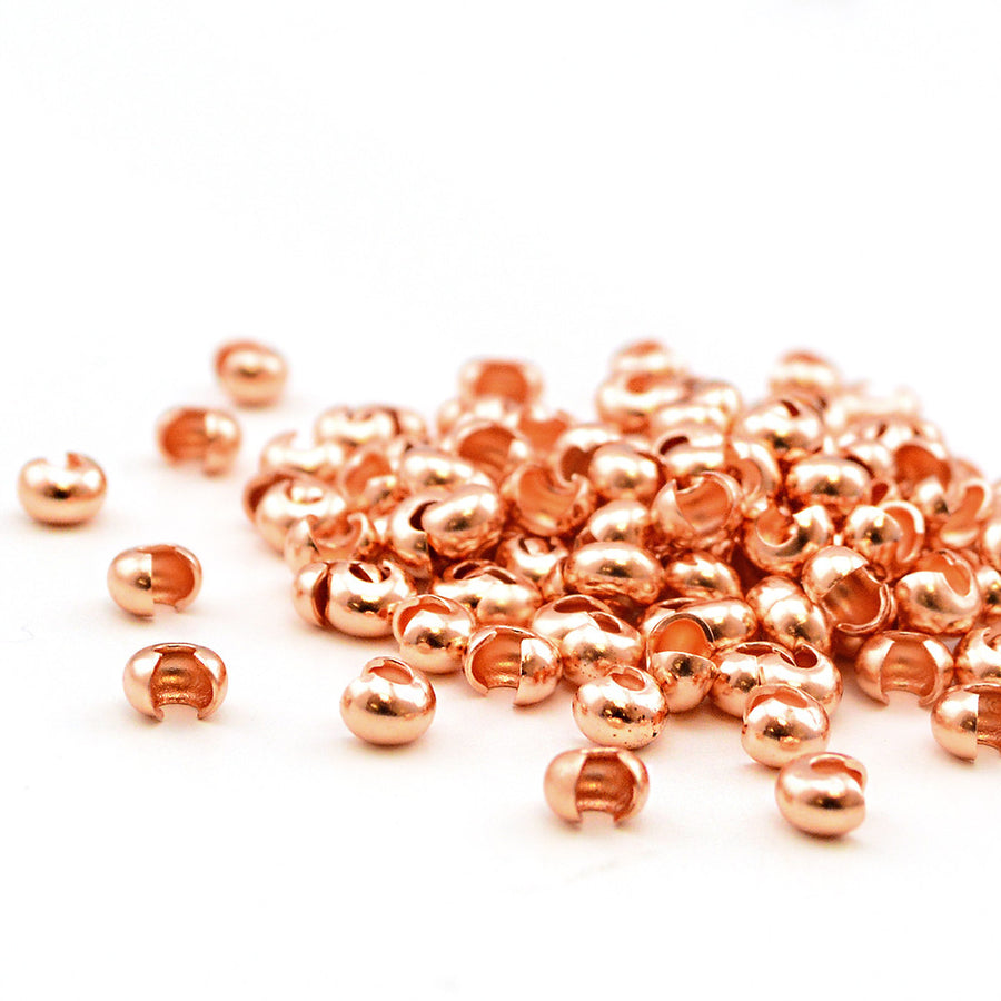 3mm Crimp Covers- Copper - Beadshop.com
