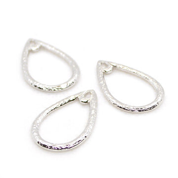 Hammered Teardrops- Rhodium