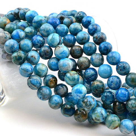 Blue Calico- 8mm , Gemstone - Dakota Stones, Beadshop.com