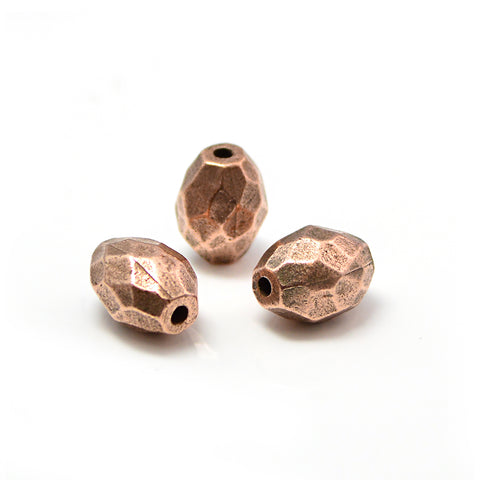 Faceted Barrel- Antique Copper