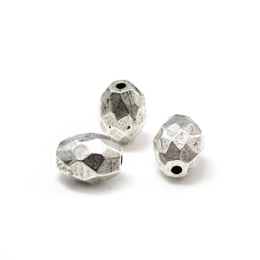 Faceted Barrel- Antique Silver
