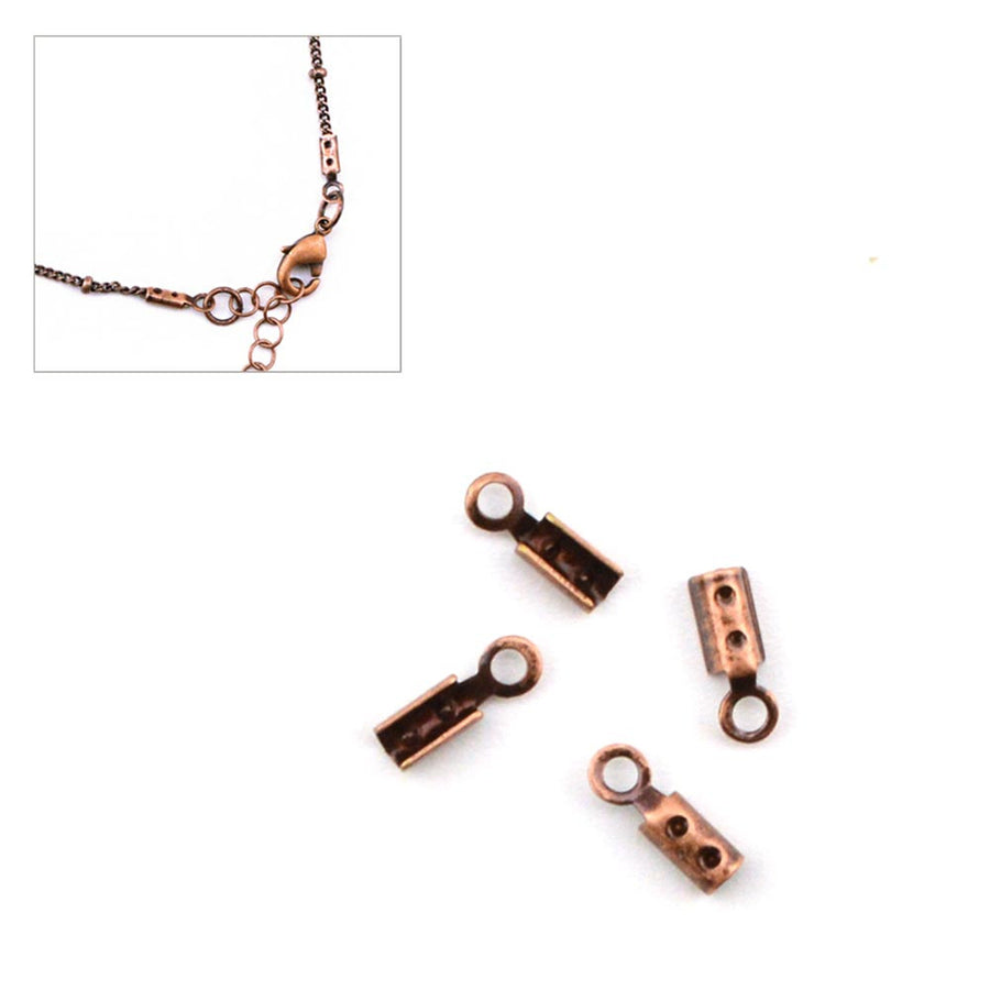 Foldover Crimp- Antique Copper , Crimps - Continental, Beadshop.com