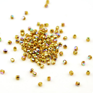 2mm- Crystal 24Kt Gold Plate AB , 2mm czech glass - Helby, Beadshop.com
