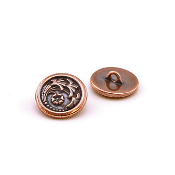 Czech Flower- Copper , Buttons - Tierracast, Beadshop.com