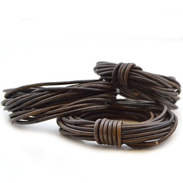 Distressed Gray- 2.0mm Indian , Leather - Leathercord USA, Beadshop.com