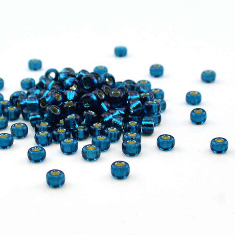 6-1425 Dyed Silver Lined Blue Zircon 6/0 , 6/0 Miyuki Seed Beads - Helby, Beadshop.com