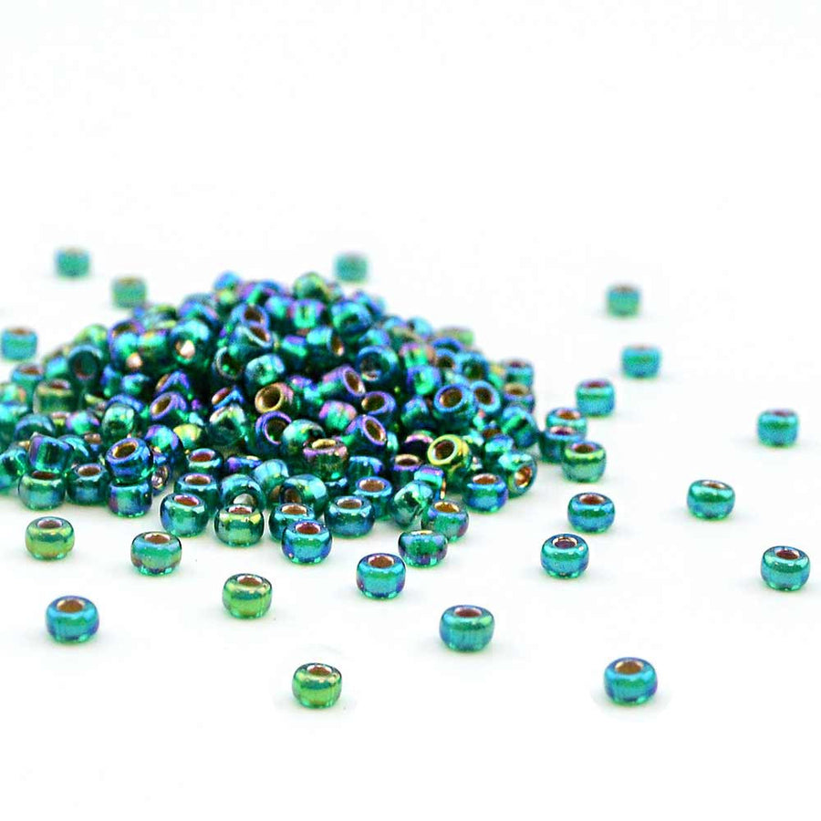 8-1017- Silver Lined Emerald AB , 8/0 Miyuki Seed Beads - Helby, Beadshop.com