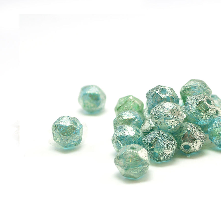 8mm English Cut- Green Aqua Mercury