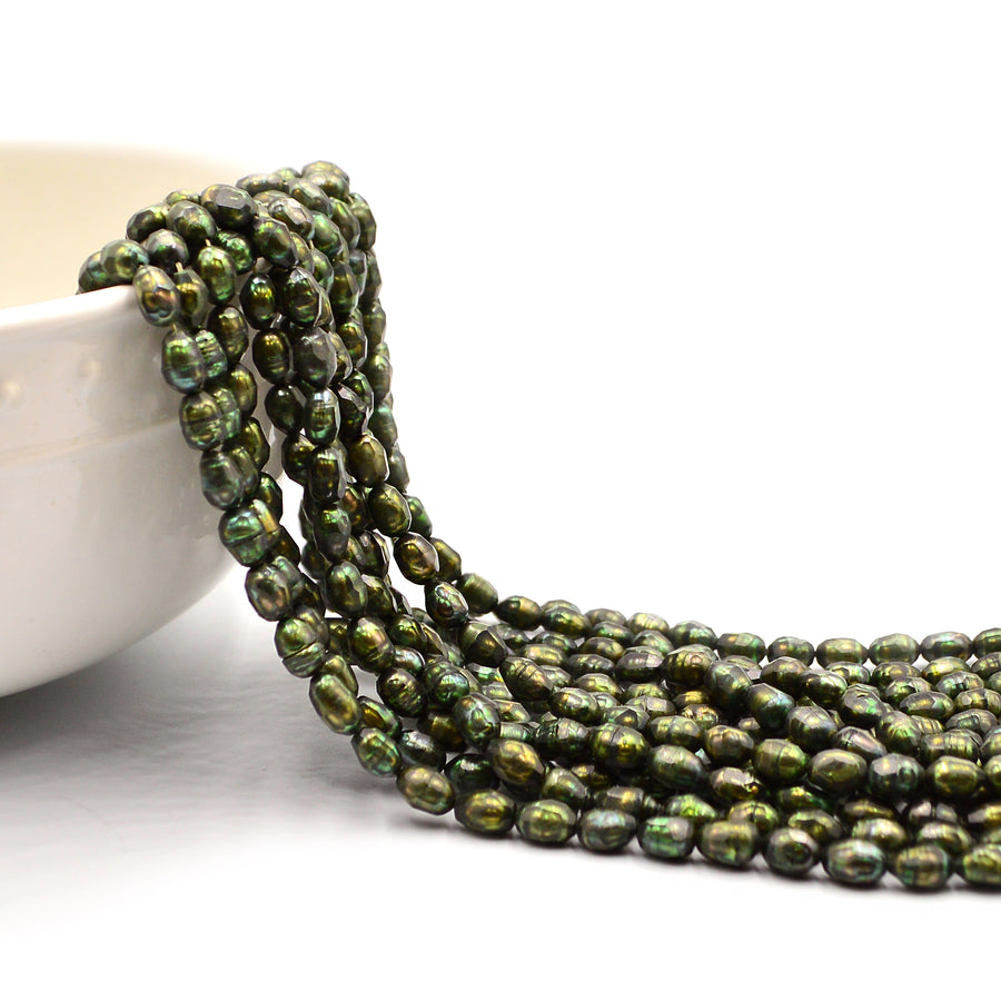 Faceted Green Oval Pearls