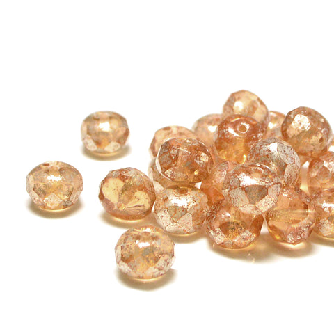 8mm Rondelles- Glazed Peach