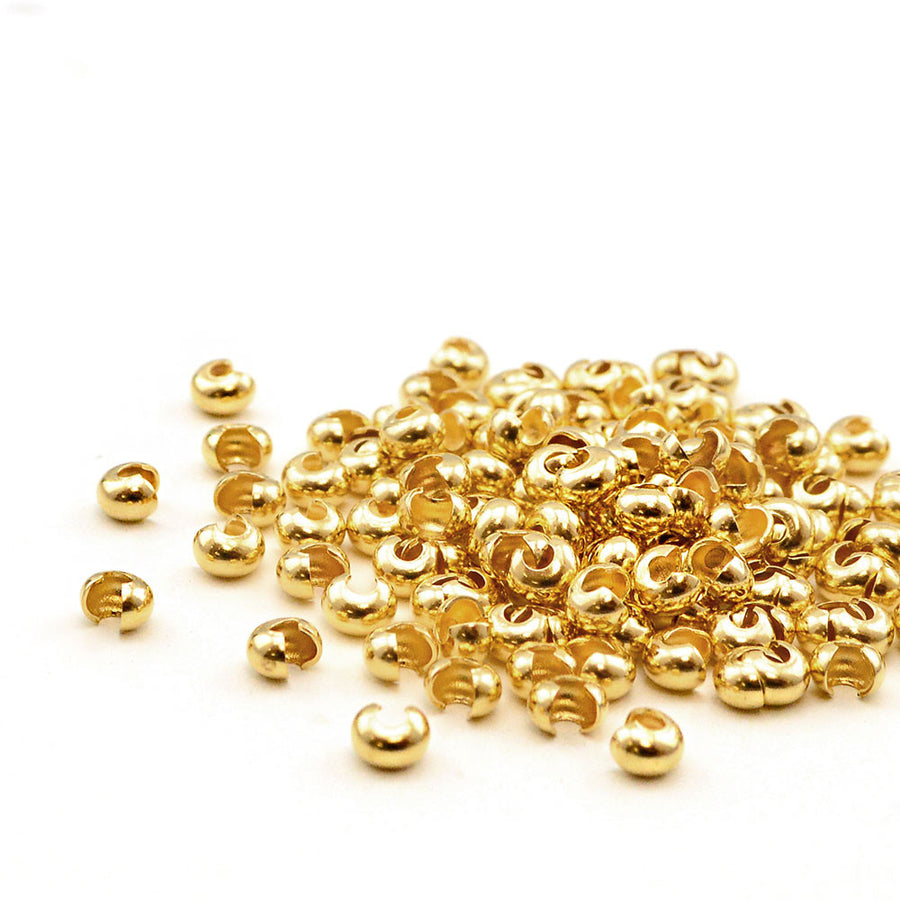 3mm Crimp Covers- Gold - Beadshop.com