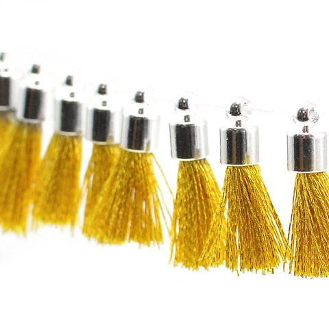 Tiny Tassel- Gold Thread/Silver